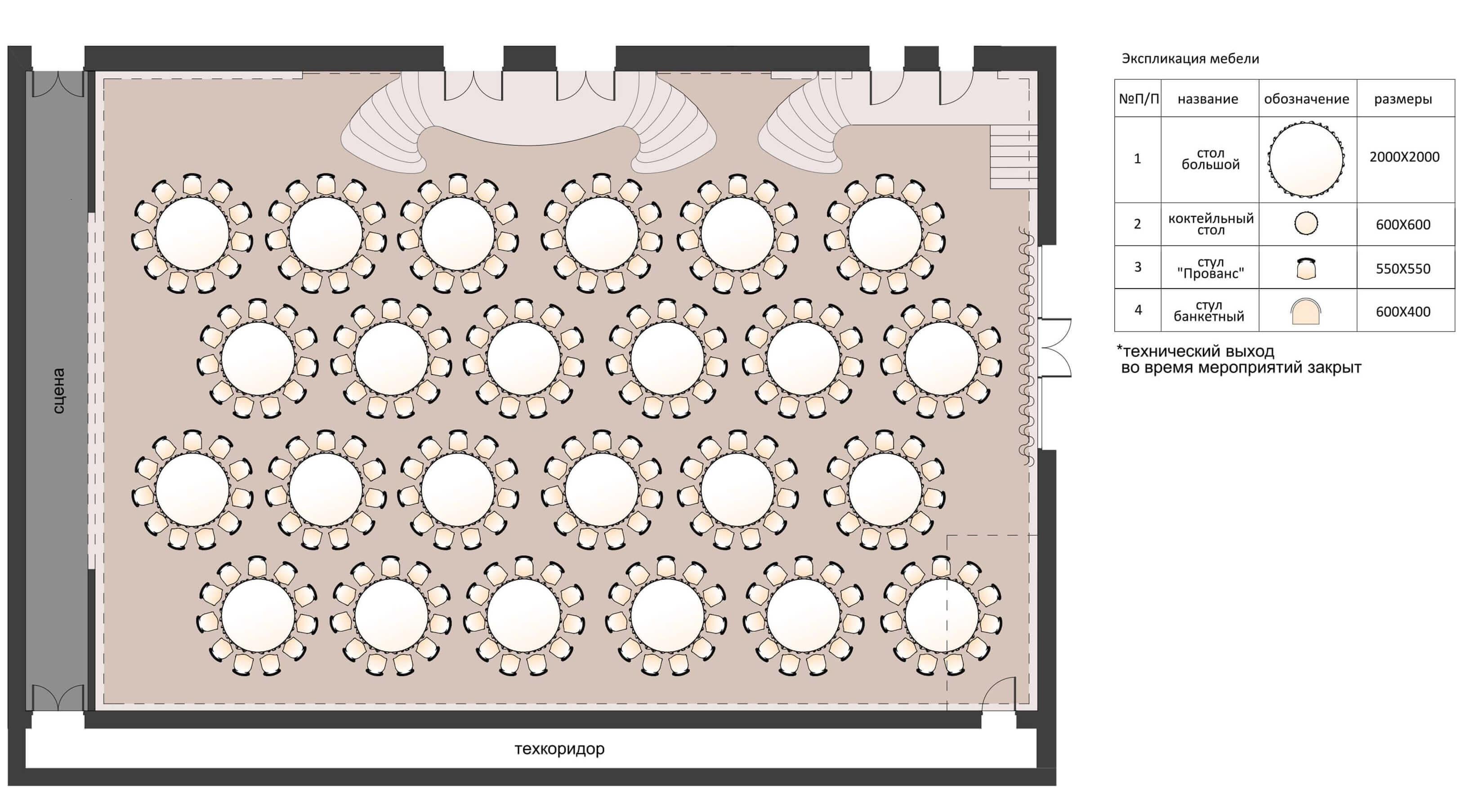 планировка банкетного зала