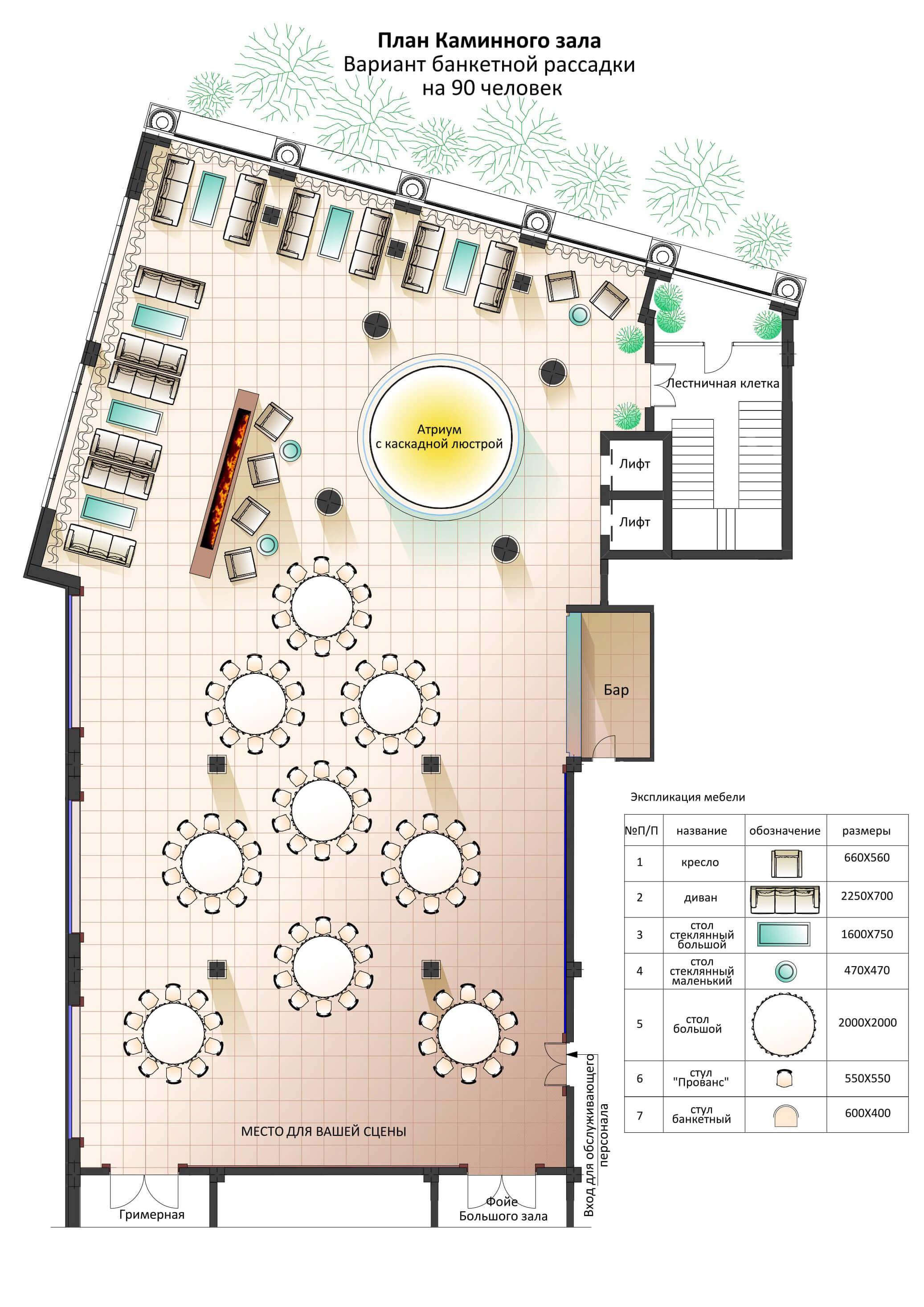 планировка каминний зал